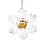 Camel Rodeo Santa Rustic Snowflake Ornament