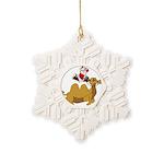 Camel Rodeo Santa Snowflake Ornament