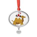 Camel Rodeo Santa Oval Year Ornament
