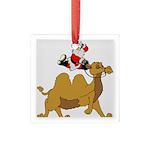 Camel Rodeo Santa Square Glass Ornament