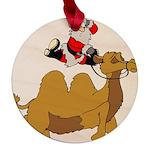 Camel Rodeo Santa Maple Round Ornament