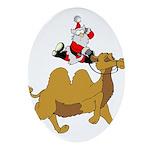 Camel Rodeo Santa Oval Ornament