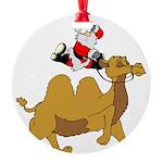 Camel Rodeo Santa Round Ornament