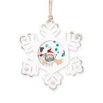 Scuba Diving Santa Rustic Snowflake Ornament