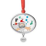 Scuba Diving Santa Oval Year Ornament