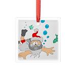Scuba Diving Santa Square Glass Ornament