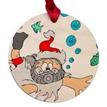 Scuba Diving Santa Maple Round Ornament
