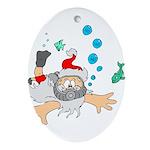 Scuba Diving Santa Oval Ornament