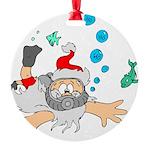 Scuba Diving Santa Round Ornament