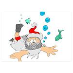 Scuba Diving Santa 5x7 Flat Cards (Set of 10)