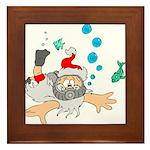 Scuba Diving Santa Framed Tile