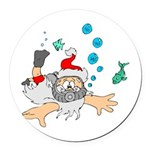 Scuba Diving Santa Round Car Magnet