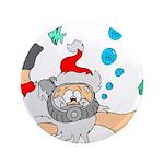 """Scuba Diving Santa 3.5"""" Button"""