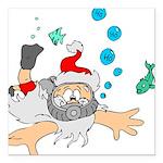 "Scuba Diving Santa Square Car Magnet 3"" x 3"""
