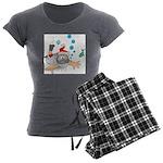Scuba Diving Santa Women's Charcoal Pajamas