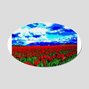 Red Tulip Field 22x14 Oval Wall Peel