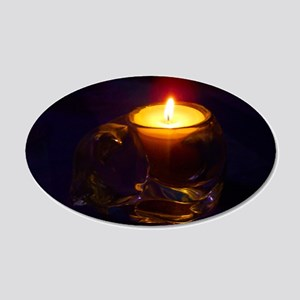 Romantic Cat Candle 22x14 Oval Wall Peel
