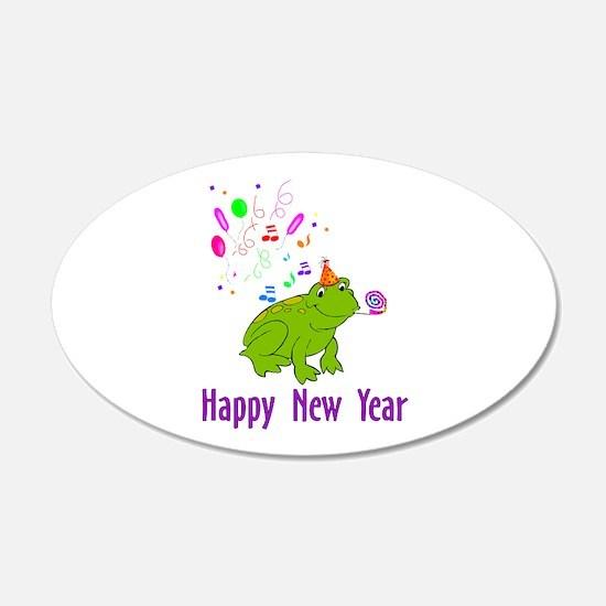 New Years Frog 22x14 Oval Wall Peel