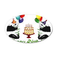 Birthday Pandas 22x14 Oval Wall Peel
