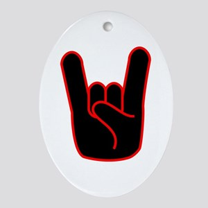 Heavy Metal Horns Ornament (Oval)