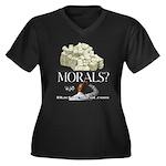 Money Over Morals Women's Plus Size V-Neck Dark T-