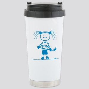 Stick Hockey (Blue): Stainless Steel Travel Mug