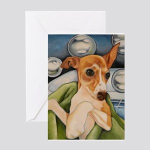 Italian Greyhound Puppy Bath Greeting Card