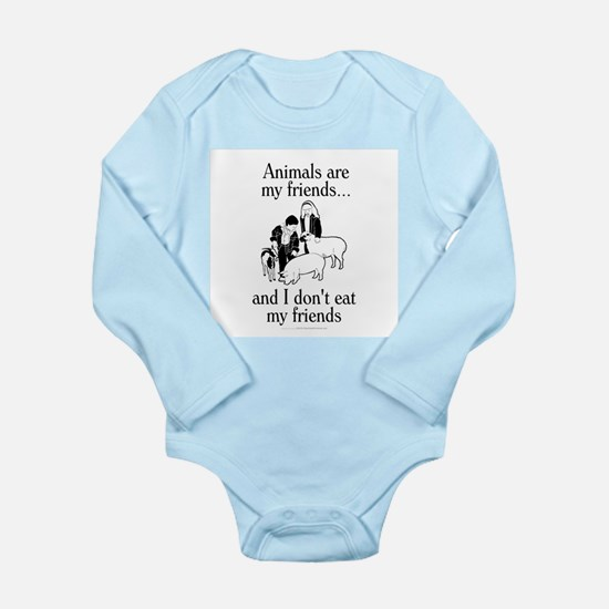 Animals are my friends Long Sleeve Infant Bodysuit