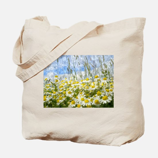 Painted Wild Daisies Tote Bag