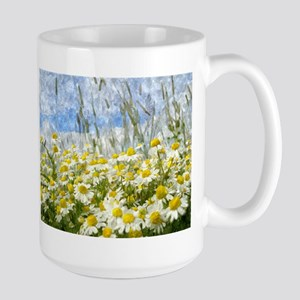 Painted Wild Daisies Large Mug
