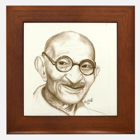 Ghandi Framed Tile