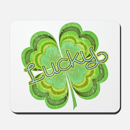 Vintage Lucky 4-leaf Clover Mousepad