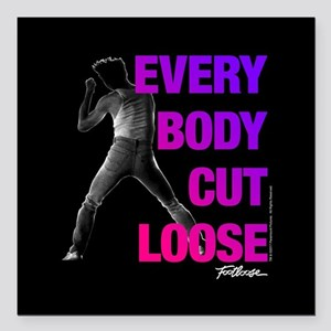 "Footloose Everybody Cut Square Car Magnet 3"" x 3"""