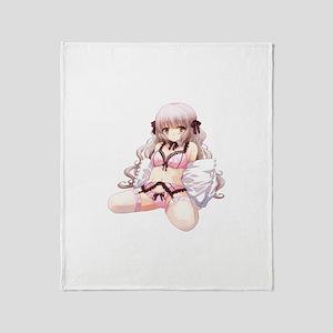 Underwear Anime Girl Throw Blanket