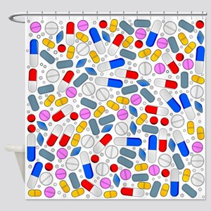 Pills Isolated On White Background Shower Curtain