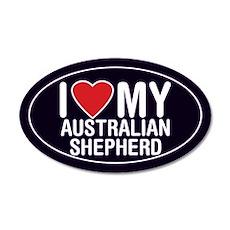 I Love My Australian Shepherd 20x12 Oval Wall Peel