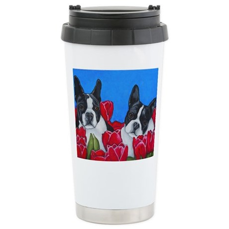 Boston Terriers & Tulips Stainless Steel Travel Mu