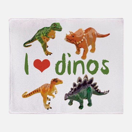 I Love Dinos Throw Blanket
