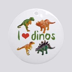 I Love Dinos Round Ornament