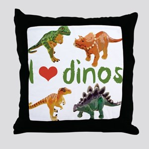 I Love Dinos Throw Pillow