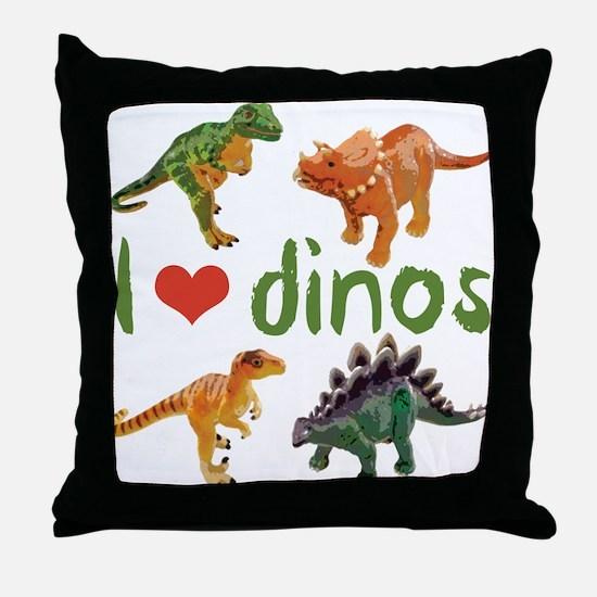 I Love Dinos Throw Pillow