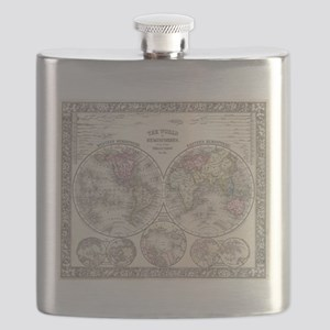 Vintage Map of The World (1864) 3 Flask