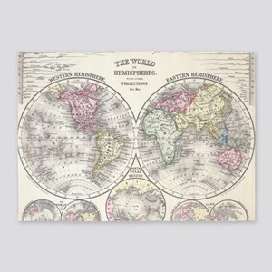 Vintage Map of The World (1864) 3 5'x7'Area Rug