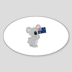 Koala Australian Flag Sticker (Oval)