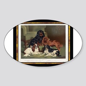 Antique King Charles Spaniels Oval Sticker