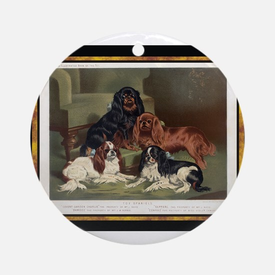 Antique King Charles Spaniels Ornament (Round)