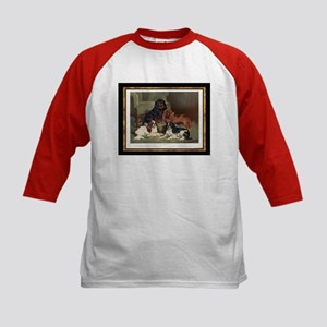 Antique King Charles Spaniels Kids Baseball Jersey