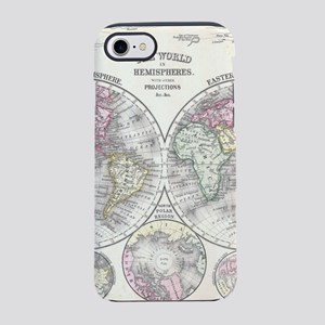 Vintage Map of The World (1864 iPhone 7 Tough Case