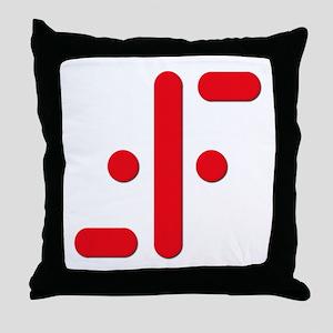 V Symbol Visitors TV Red Throw Pillow