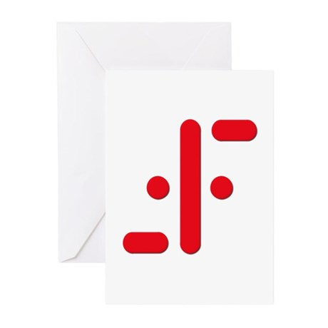 V Symbol Visitors TV Red Greeting Cards (Pk of 10)